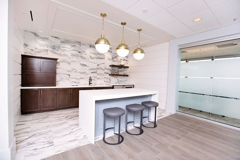 Corporate office interior design services at Smith, Hulsey & Busey in Jacksonville, Fla.
